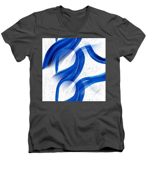 Abstract Acrylic Painting Blues Series 2 Men's V-Neck T-Shirt by Saribelle Rodriguez
