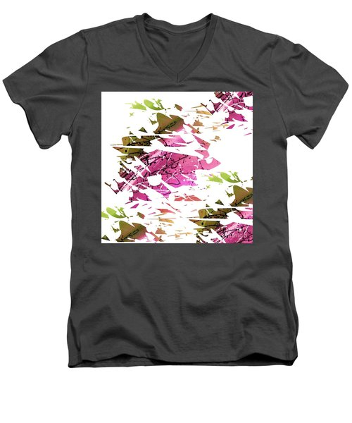 Abstract Acrylic Painting Broken Glass Purple And Green Men's V-Neck T-Shirt by Saribelle Rodriguez