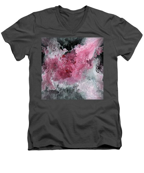 Abstract Acrylic Painting Red Black And White Men's V-Neck T-Shirt