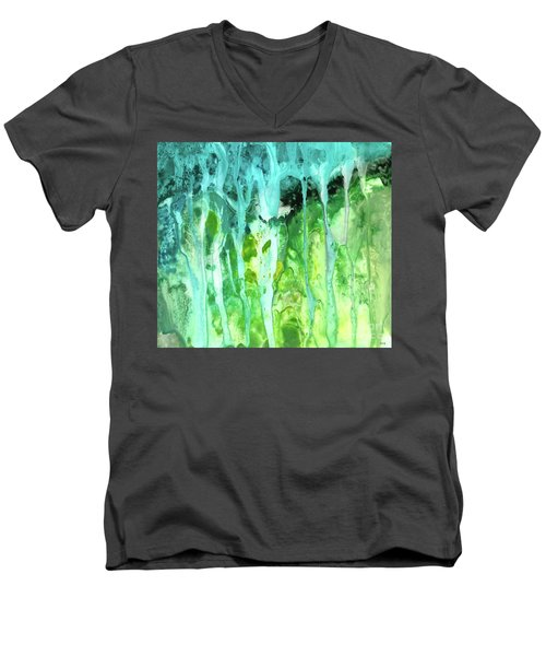 Abstract Art Waterfall Men's V-Neck T-Shirt by Saribelle Rodriguez
