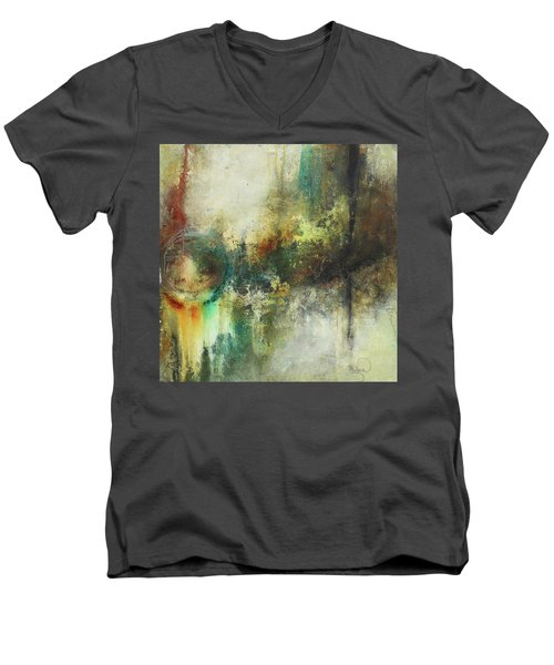 Abstract Art With Blue Green And Warm Tones Men's V-Neck T-Shirt