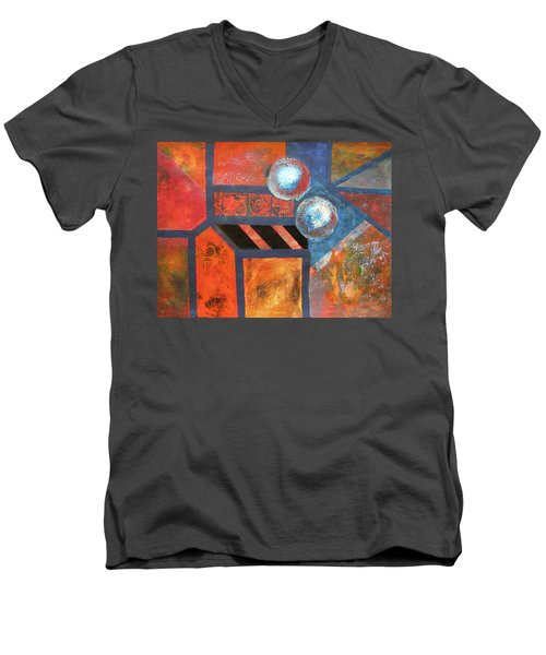 Men's V-Neck T-Shirt featuring the mixed media Abstract Autumn by Riana Van Staden