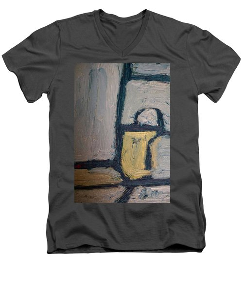 Abstract Blue Shapes Men's V-Neck T-Shirt