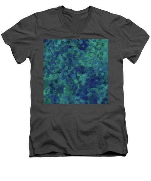 Men's V-Neck T-Shirt featuring the mixed media Abstract Blues 1 by Clare Bambers