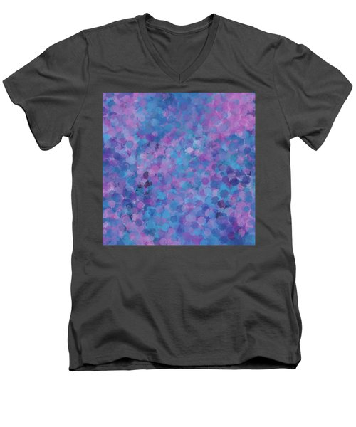 Men's V-Neck T-Shirt featuring the mixed media Abstract Blues Pinks Purples 3 by Clare Bambers