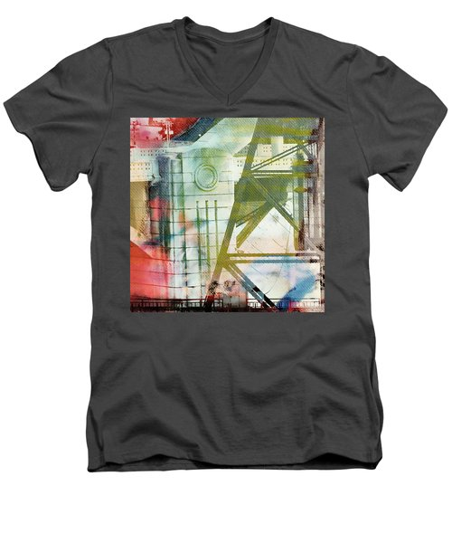 Abstract Bridge With Color Men's V-Neck T-Shirt by Susan Stone