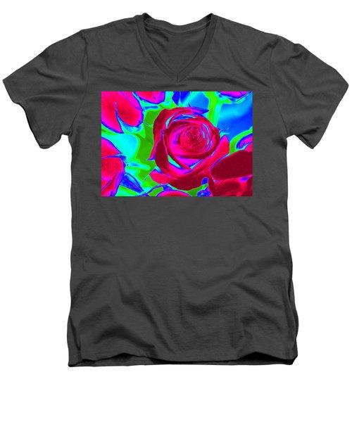 Abstract Burgundy Roses Men's V-Neck T-Shirt by Karen J Shine