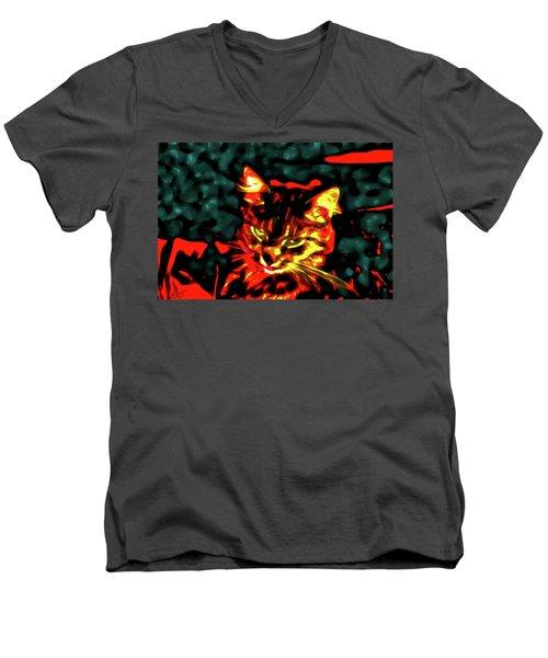 Abstract Cat Men's V-Neck T-Shirt