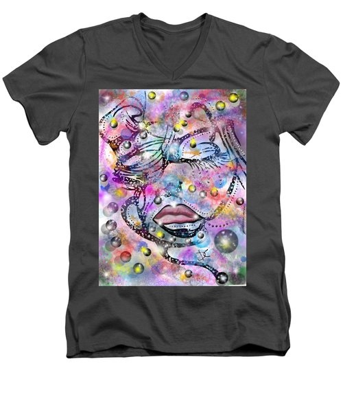Abstract Color Human Face Men's V-Neck T-Shirt by Darren Cannell
