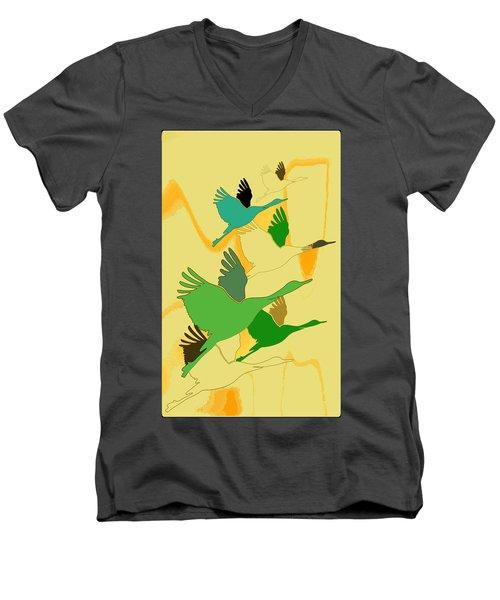 Abstract Cranes Men's V-Neck T-Shirt