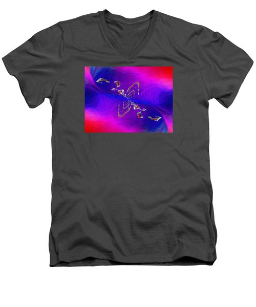 Men's V-Neck T-Shirt featuring the digital art Abstract Cubed 350 by Tim Allen