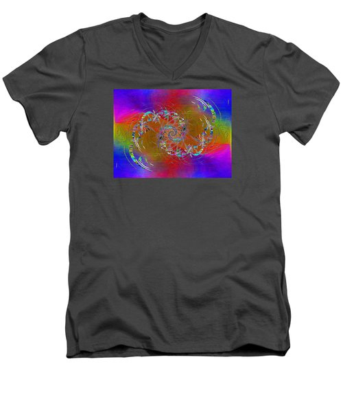 Men's V-Neck T-Shirt featuring the digital art Abstract Cubed 351 by Tim Allen