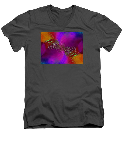 Men's V-Neck T-Shirt featuring the digital art Abstract Cubed 352 by Tim Allen