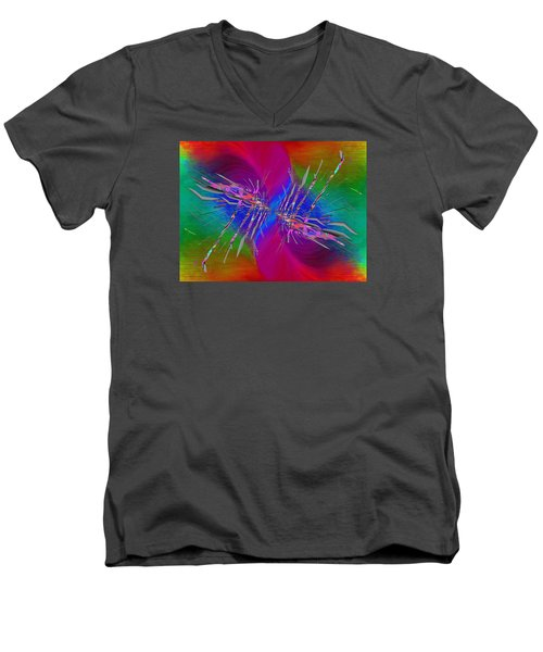 Men's V-Neck T-Shirt featuring the digital art Abstract Cubed 353 by Tim Allen