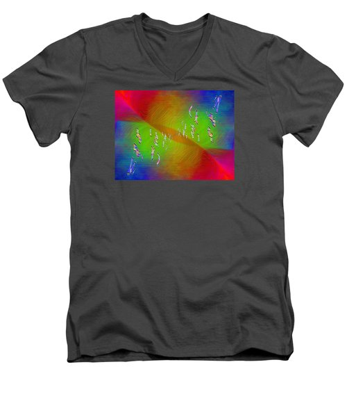 Men's V-Neck T-Shirt featuring the digital art Abstract Cubed 355 by Tim Allen