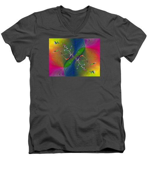 Men's V-Neck T-Shirt featuring the digital art Abstract Cubed 356 by Tim Allen