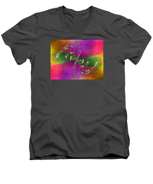 Men's V-Neck T-Shirt featuring the digital art Abstract Cubed 357 by Tim Allen