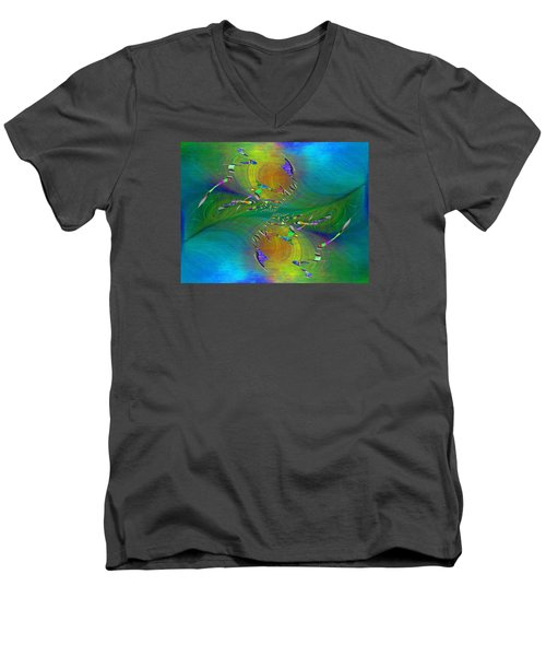 Men's V-Neck T-Shirt featuring the digital art Abstract Cubed 359 by Tim Allen