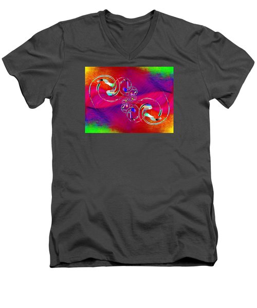 Men's V-Neck T-Shirt featuring the digital art Abstract Cubed 360 by Tim Allen
