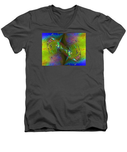 Men's V-Neck T-Shirt featuring the digital art Abstract Cubed 361 by Tim Allen