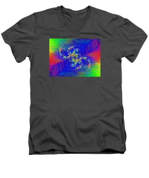 Men's V-Neck T-Shirt featuring the digital art Abstract Cubed 362 by Tim Allen