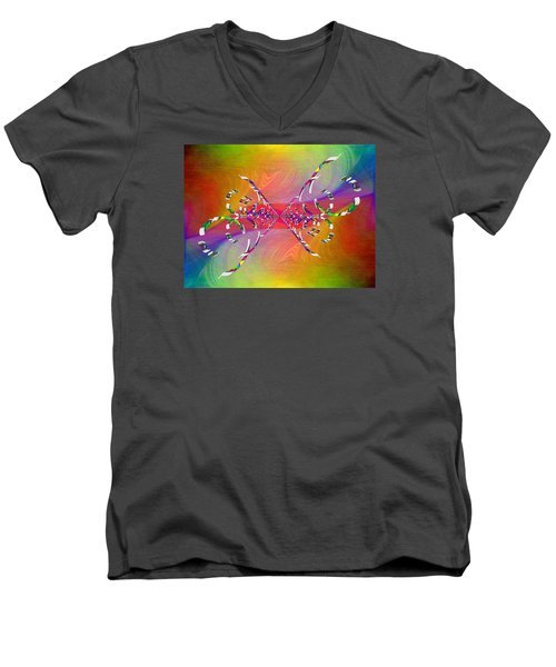 Men's V-Neck T-Shirt featuring the digital art Abstract Cubed 364 by Tim Allen