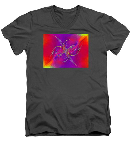 Men's V-Neck T-Shirt featuring the digital art Abstract Cubed 365 by Tim Allen