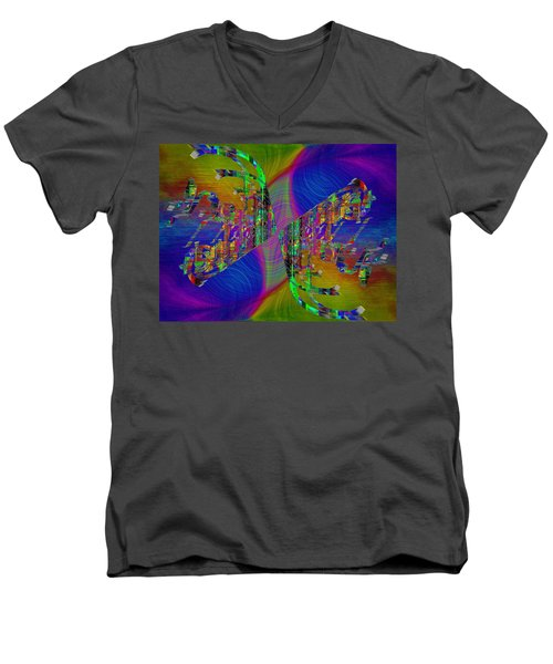 Men's V-Neck T-Shirt featuring the digital art Abstract Cubed 368 by Tim Allen