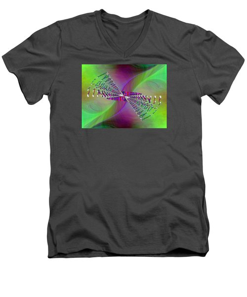 Men's V-Neck T-Shirt featuring the digital art Abstract Cubed 370 by Tim Allen