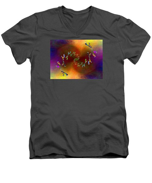 Men's V-Neck T-Shirt featuring the digital art Abstract Cubed 375 by Tim Allen