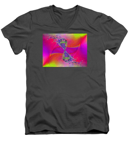 Men's V-Neck T-Shirt featuring the digital art Abstract Cubed 377 by Tim Allen