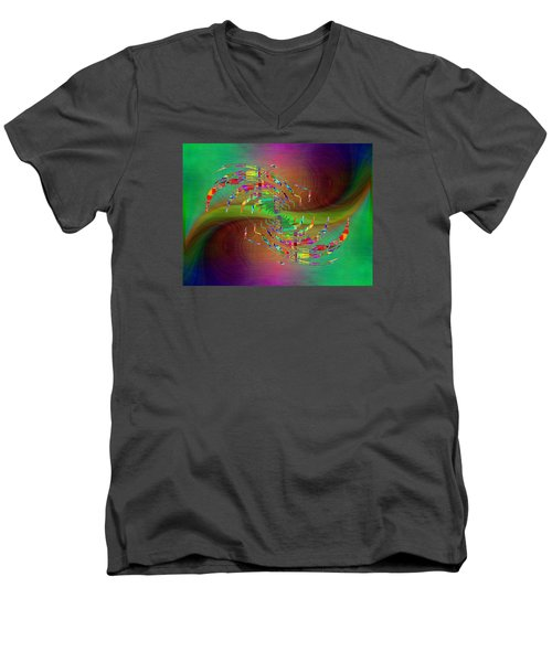 Men's V-Neck T-Shirt featuring the digital art Abstract Cubed 379 by Tim Allen