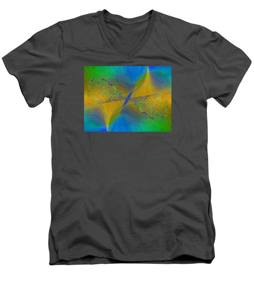 Men's V-Neck T-Shirt featuring the digital art Abstract Cubed 380 by Tim Allen