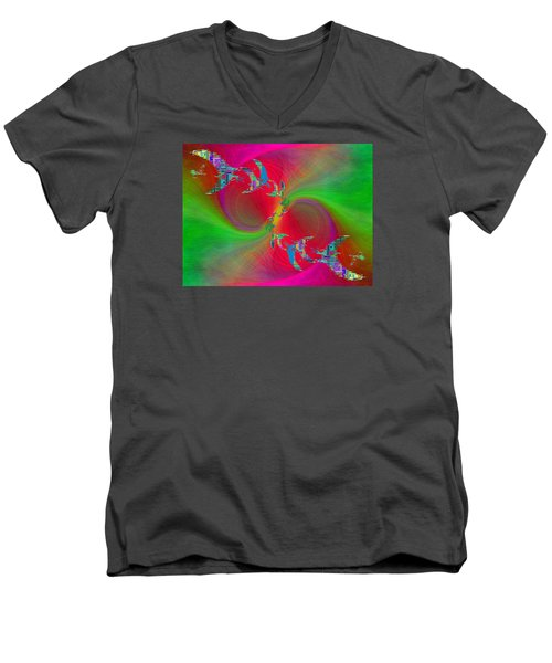 Men's V-Neck T-Shirt featuring the digital art Abstract Cubed 383 by Tim Allen