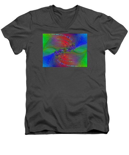 Men's V-Neck T-Shirt featuring the digital art Abstract Cubed 384 by Tim Allen