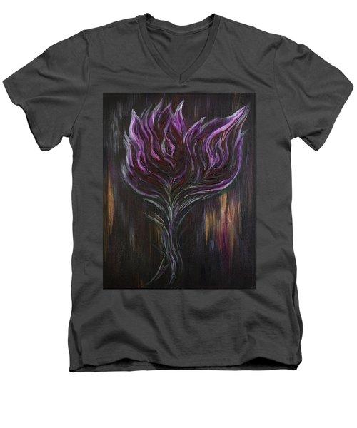 Abstract Dark Rose Men's V-Neck T-Shirt