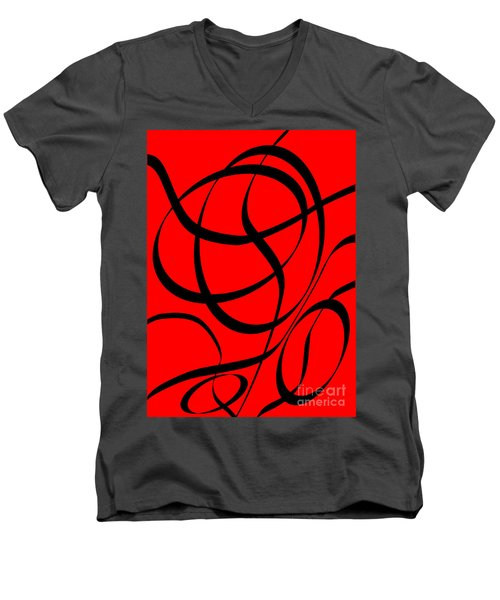 Abstract Design In Red And Black Men's V-Neck T-Shirt