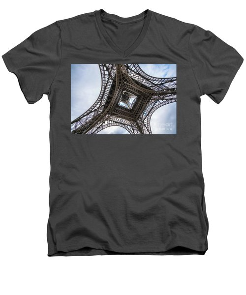 Abstract Eiffel Tower Looking Up 2 Men's V-Neck T-Shirt by Mike Reid