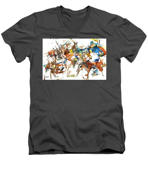 Men's V-Neck T-Shirt featuring the painting Abstract Expressionism Painting Series 1041.050812 by Kris Haas
