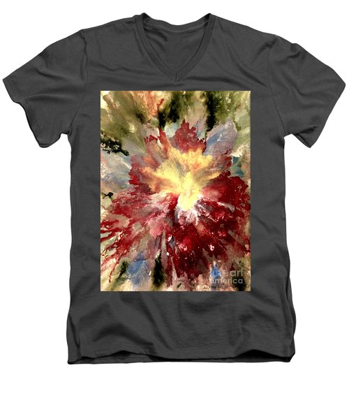 Men's V-Neck T-Shirt featuring the painting Abstract Flower by Denise Tomasura