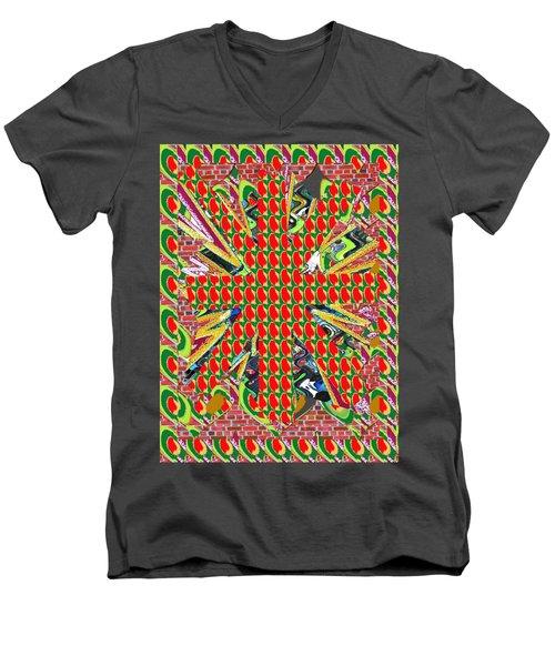 Abstract Flowers Floral Leaf Leaves Colorful Modern Art Navinjoshi Fineartamerica Pixels Men's V-Neck T-Shirt by Navin Joshi