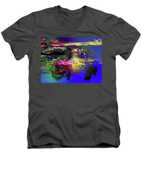 Abstract Flowers Of Light Series #11 Men's V-Neck T-Shirt