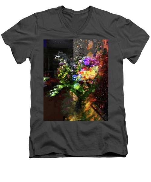 Abstract Flowers Of Light Series #17 Men's V-Neck T-Shirt