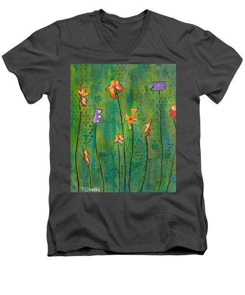 Abstract Flowers Orange, Purple Men's V-Neck T-Shirt by Patricia Cleasby