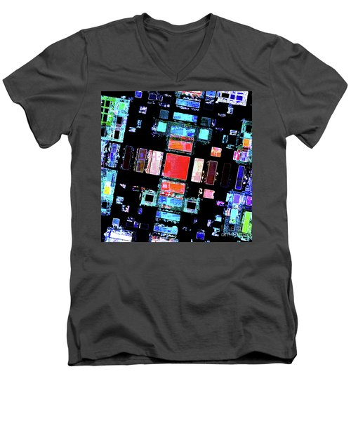 Men's V-Neck T-Shirt featuring the digital art Abstract Geometric Art by Phil Perkins