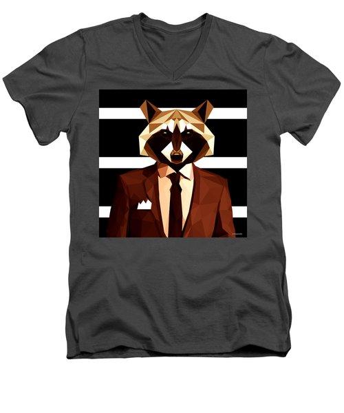Abstract Geometric Raccoon Men's V-Neck T-Shirt by Gallini Design