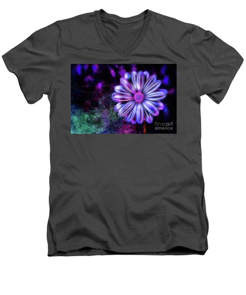 Abstract Glowing Purple And Blue Flower Men's V-Neck T-Shirt