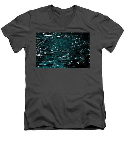 Men's V-Neck T-Shirt featuring the photograph Abstract Green Reflections by Gary Smith