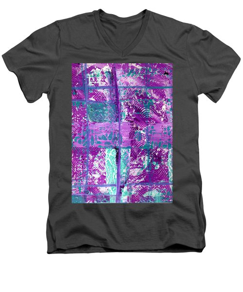 Abstract In Purple And Teal Men's V-Neck T-Shirt