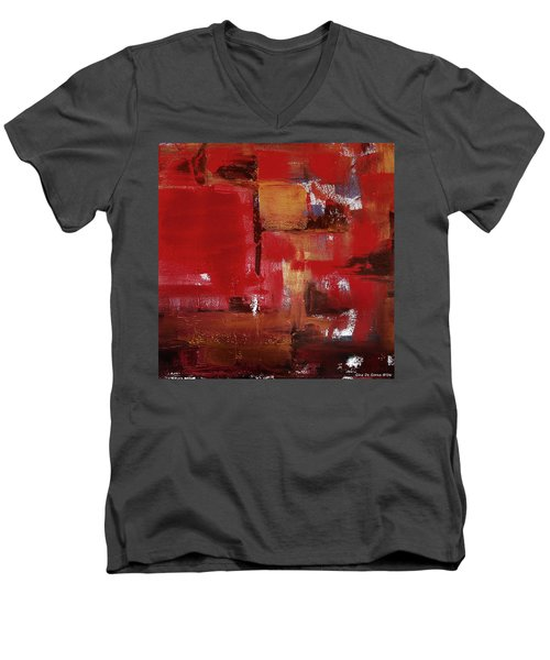 Abstract In Red Men's V-Neck T-Shirt
